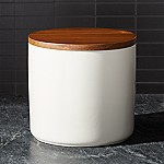 Silo Cream 64 Oz. Wood Lid Canister