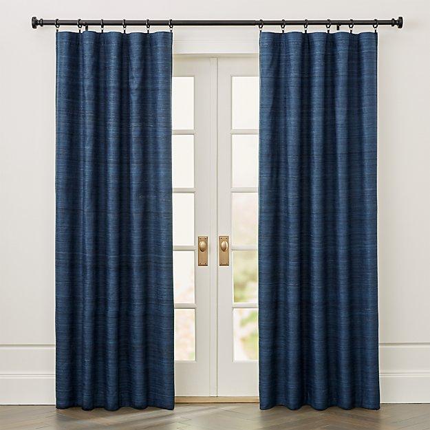 Silvana Blue Silk Blackout Curtain Panel - Image 1 of 7