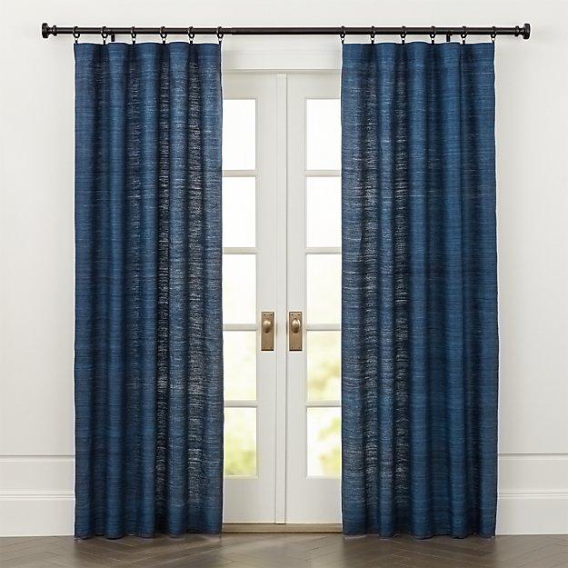 Silvana Blue Silk Curtains - Image 1 of 6