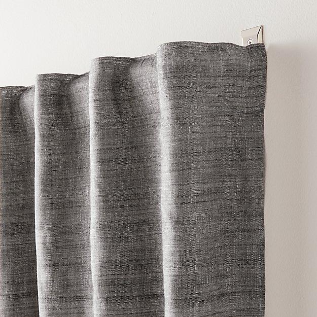 Silvana Silk Dark Grey Blackout Curtain Panel - Image 1 of 5