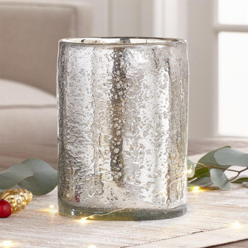 Bubbled Silver Hurricane Candle Holder Crate And Barrel