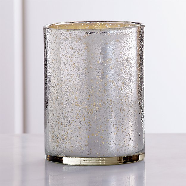 Bubbled Silver Hurricane Candle Holder