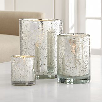 Bubbled Silver Glass Hurricane Candle Holder