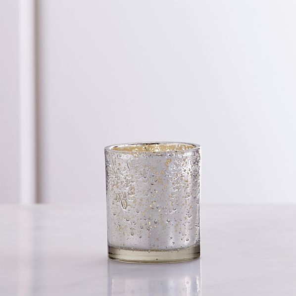 Bubbled Silver Glass Tea Light Candle Holder