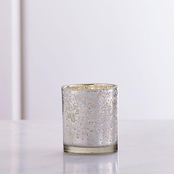 SilverBubbledGlassTealightSHF16