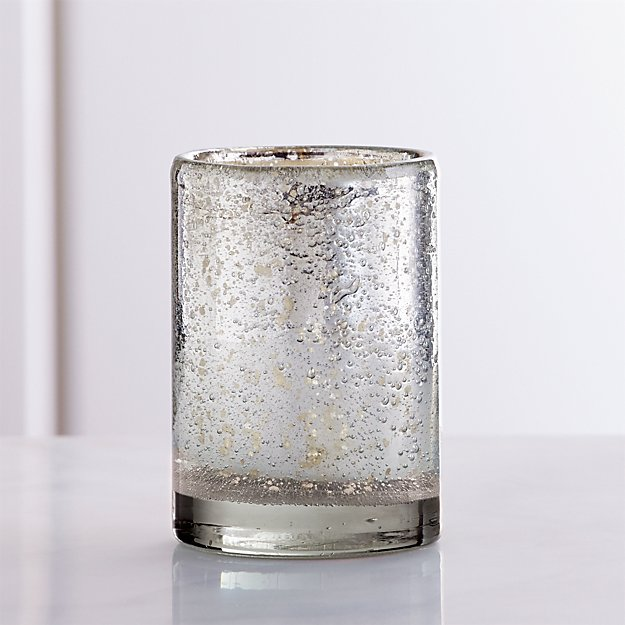 74bb34b862 Bubbled Silver Glass Votive Candle Holder + Reviews | Crate and Barrel