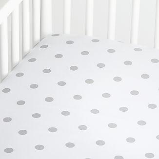 Organic Silver Dot Crib Fitted Sheet
