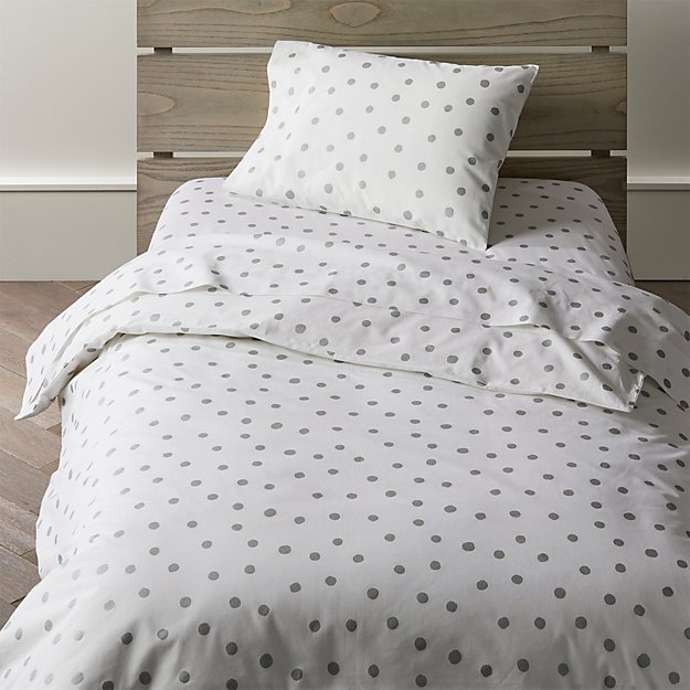 Organic Silver Polka Dot Toddler Bedding Crate And Barrel