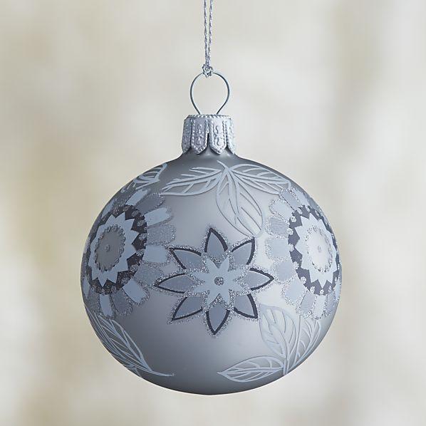 Graphite Silver Glitter Flower Ball Ornament