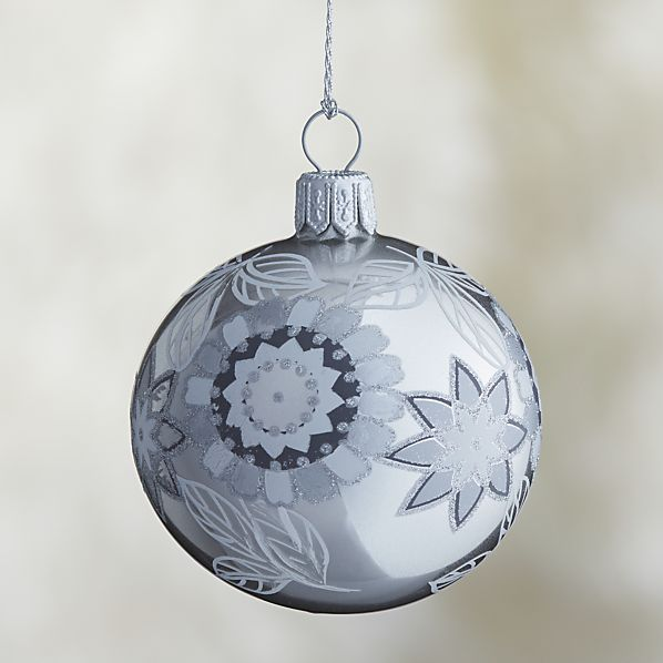 Silver Silver Glitter Flower Ball Ornament
