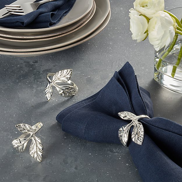 Silver Leaves Napkin Ring