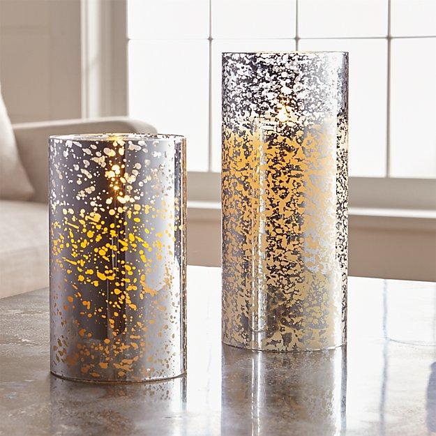 Silver Mercury Flameless Pillar Candles