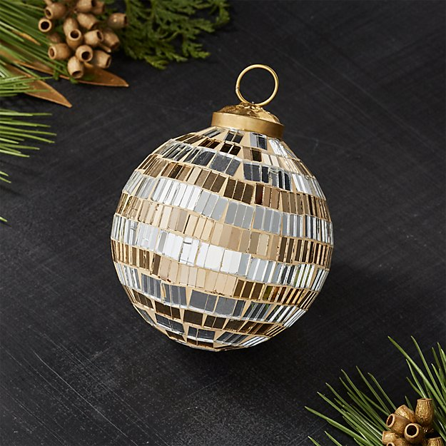 Silver and Gold Mirrored Ball Ornament