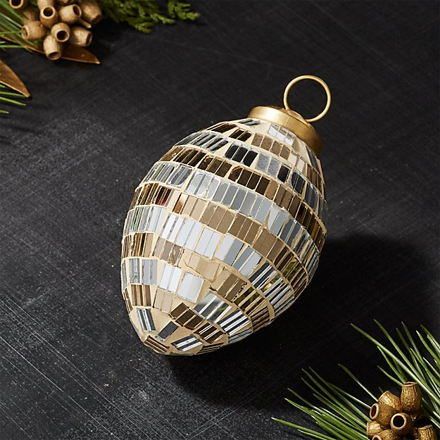 Silver and Gold Mirrored Drop Ornament