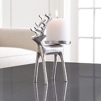 Silver Reindeer Pillar Candle Holder