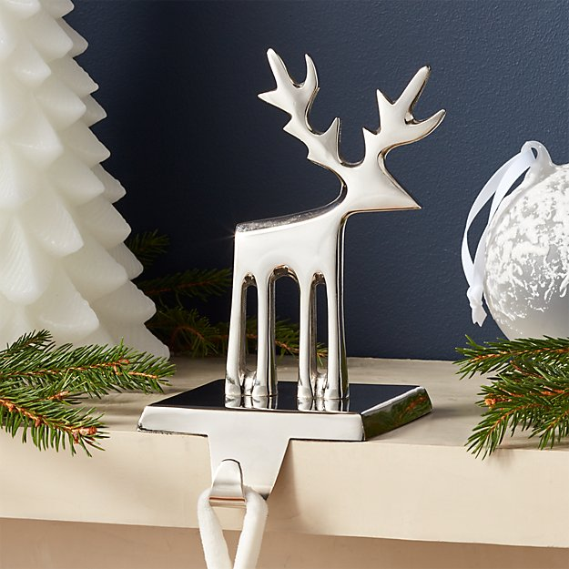 Silver Reindeer Stocking Hook