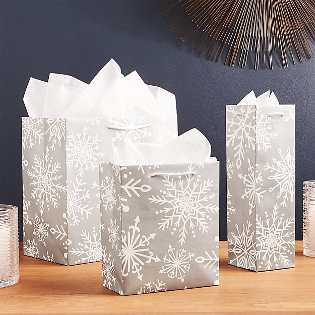 Silver Snowflake Gift Bags