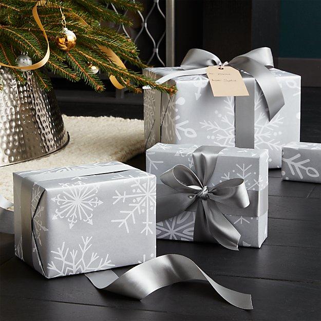 Silver Snowflakes Gift Wrap