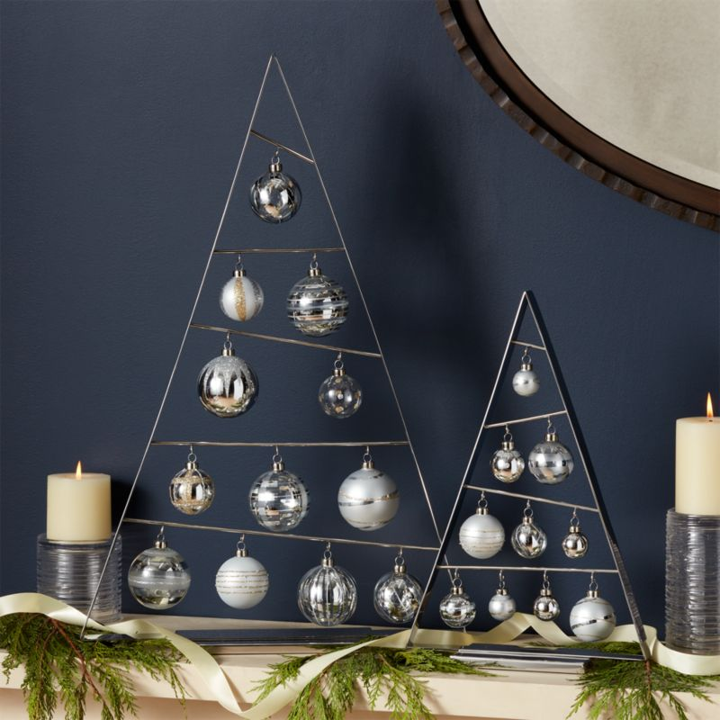 silver a frame ornament trees with set of silver ornaments - Christmas Tree Shop Locations