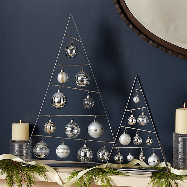 Silver A-Frame Ornament Trees with Set of Silver Ornaments