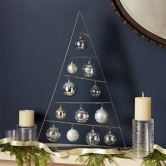Large Silver A-Frame Ornament Tree with Set of 12 Silver Ornaments