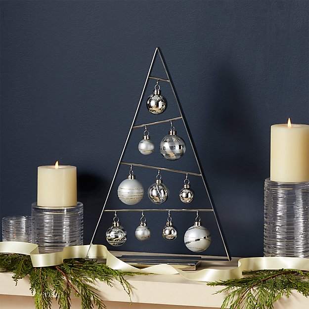 Small Silver A-Frame Ornament Tree with Set of 10 Silver Ornaments