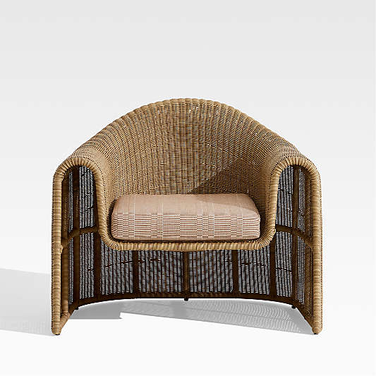 Simeon Outdoor Wicker Lounge Chair with Cushion