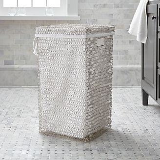 Simi Nickel Wire Hamper With Liner