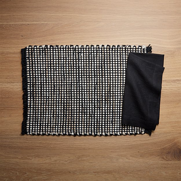 Simone Placemat and Helena Black Linen Dinner Napkin