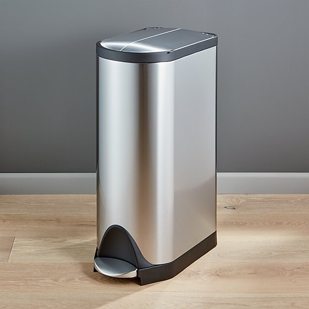 simplehuman 30 liter 8 gallon stainless steel butterfly step trash can crate and barrel. Black Bedroom Furniture Sets. Home Design Ideas