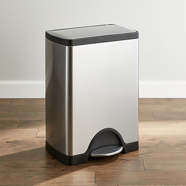 simplehuman 30 liter 8 gallon stainless steel rectangular step can crate and barrel. Black Bedroom Furniture Sets. Home Design Ideas