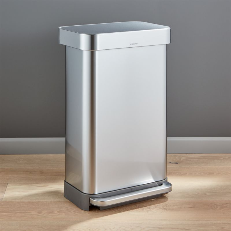 simplehuman 45 liter12 gallon stainless steel step kitchen trash can reviews crate and barrel - Stainless Steel Kitchen Trash Can