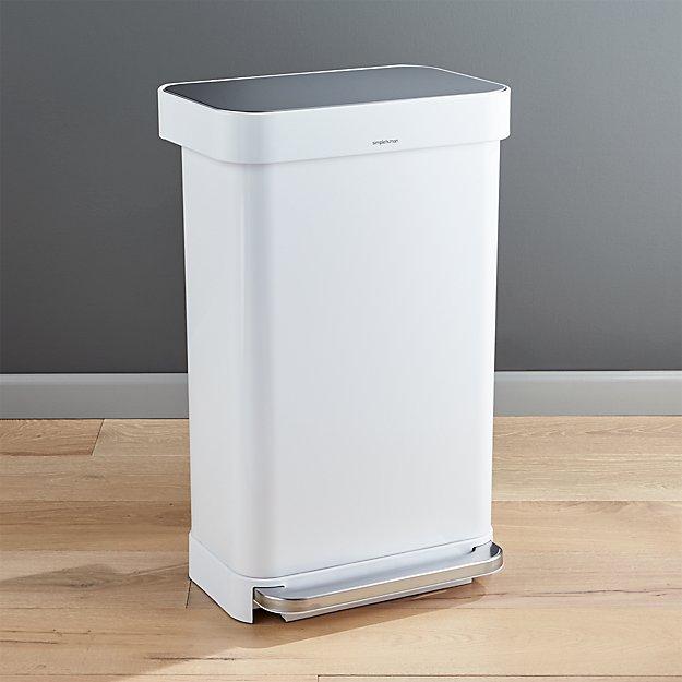 simplehuman 45 liter 12 gallon white rectangular step. Black Bedroom Furniture Sets. Home Design Ideas