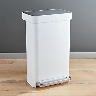 Simplehuman 45 Liter 12 Gallon White Rectangular Step Can
