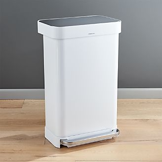 Superbe Simplehuman ® 45 Liter/12 Gallon White Rectangular Step Can