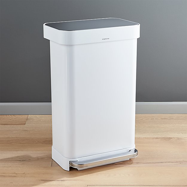 White Kitchen Trash Can  Liter