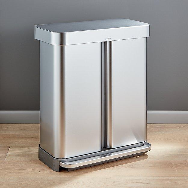 simplehuman 58 liter 15 gallon recycler crate and barrel. Black Bedroom Furniture Sets. Home Design Ideas