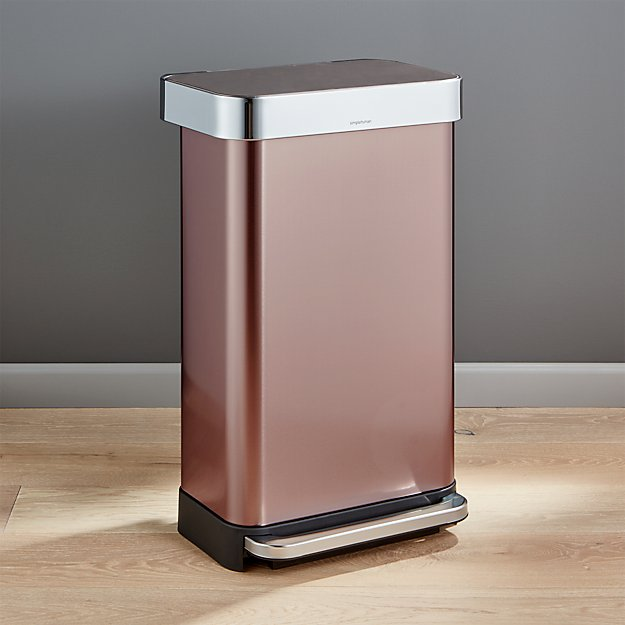 simplehuman 45 liter 12 gallon rose gold rectangular step can crate and barrel. Black Bedroom Furniture Sets. Home Design Ideas