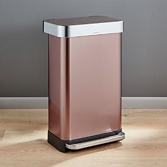 simplehuman ® 45-liter/12-gallon Rose Gold Rectangular Step Can