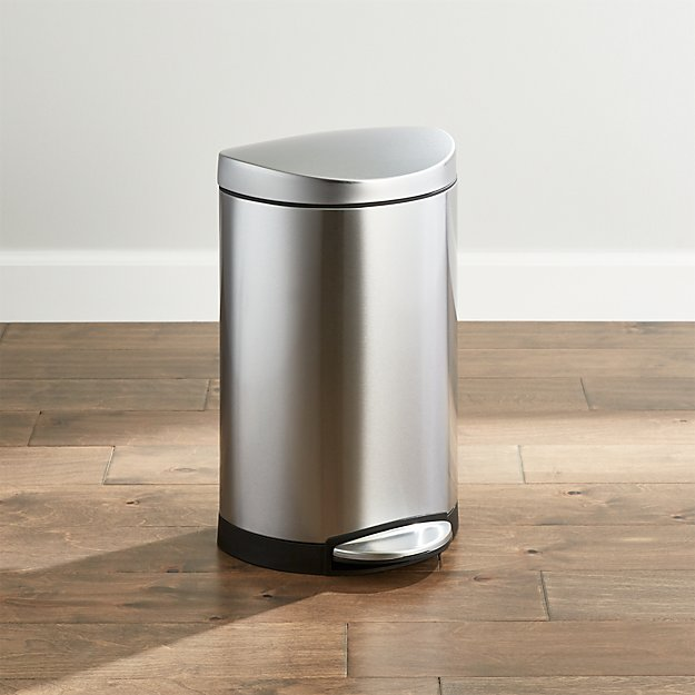 simplehuman ® 10-Liter/2.6-Gallon Semi-Round Stainless Steel Step Trash Can