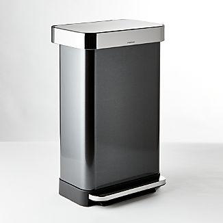 simplehuman ® 45-Liter/12-Gallon Black Stainless Rectangular Trash Can