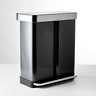 simplehuman ® 58-Liter Black Stainless Recycler