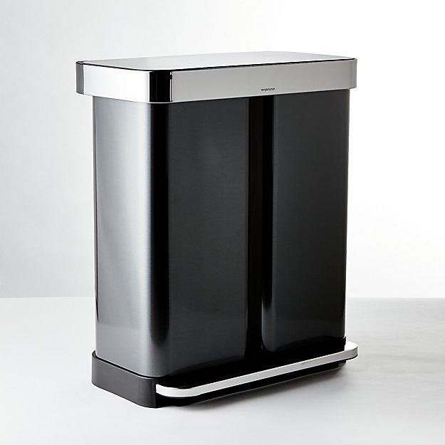 simplehuman ® 58-Liter Black Stainless Recycler - Image 1 of 3