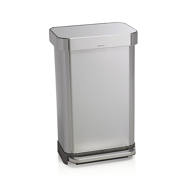simplehuman 45 liter 12 gallon stainless steel step kitchen trash can reviews crate and barrel. Black Bedroom Furniture Sets. Home Design Ideas