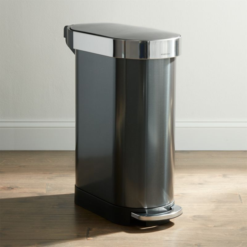 . simplehuman 45 Liter Black Slim Trash Can   Reviews   Crate and Barrel
