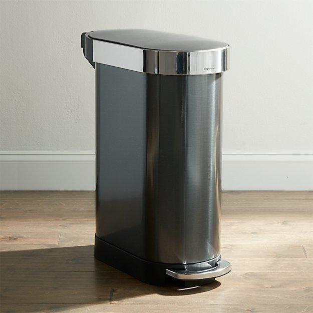 simplehuman 45-Liter Black Slim Trash Can - Image 1 of 3