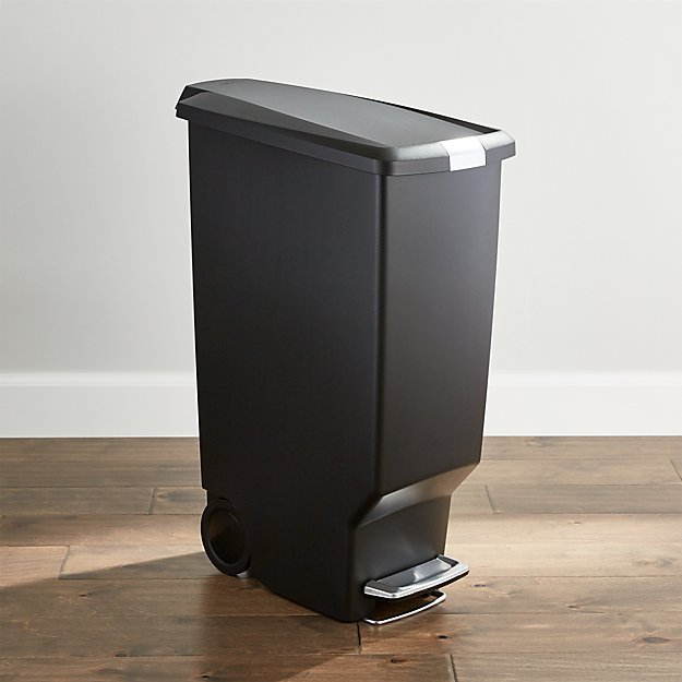 simplehuman ® Black 40-Liter/10.5-Gallon Slim Trash Can
