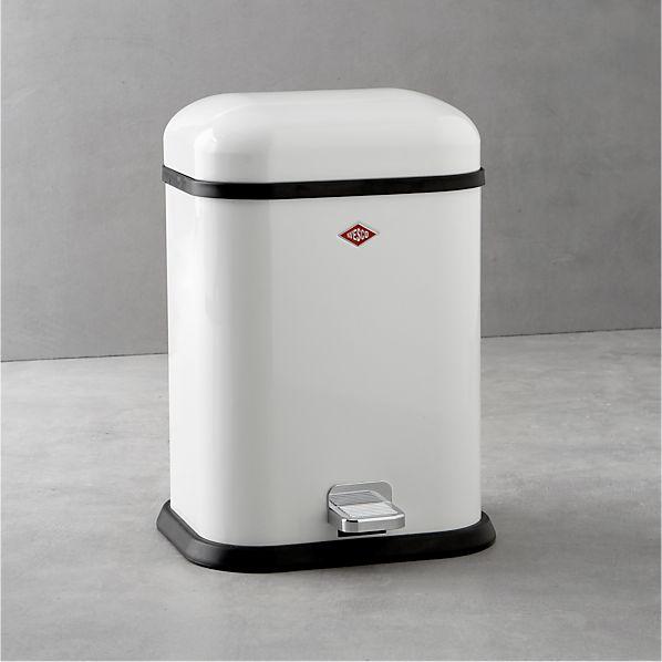 Wesco ® Singleboy 3.4-Gallon White Steel Step Trash Can