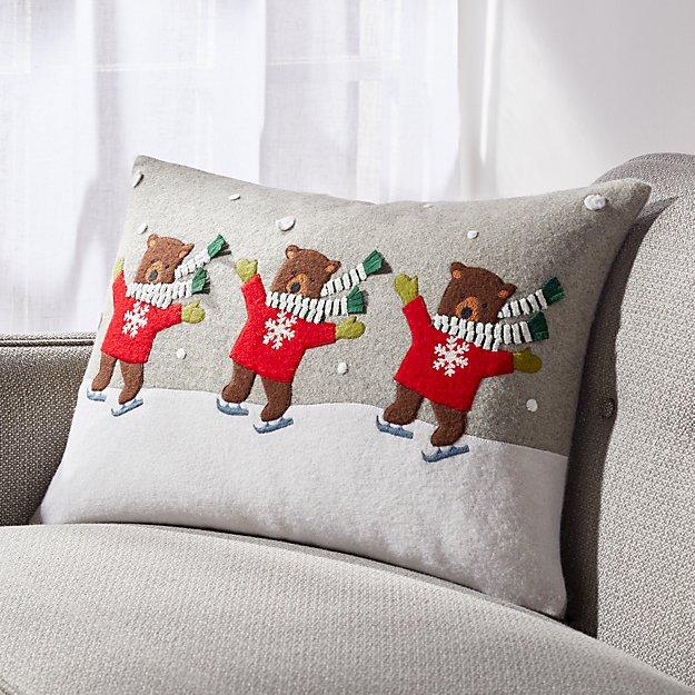 Skating Bears Pillow - Image 1 of 6