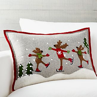 "Skating Reindeer 22""x15"" Pillow with Down-Alternative Insert"
